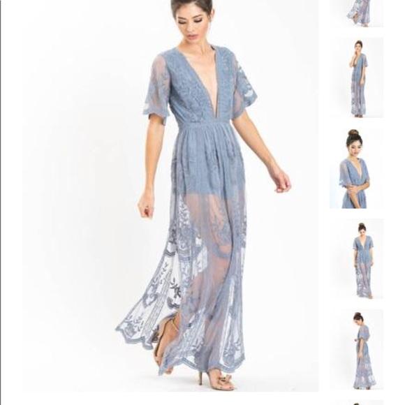 46cf7d7e8d76 Honey Punch Dresses   Skirts - Mila Dusty Blue Lace Maxi Romper
